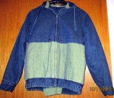 Winter-Jeansanzug Orginal 80's Vintage gelb/petrolblau stonewashed Denim Gr.34