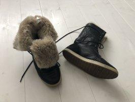 Winterboots Fellstiefel Leder Boots Stiefel schwarz Gr. 39