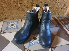 H&M Bottes de neige noir-crème cuir
