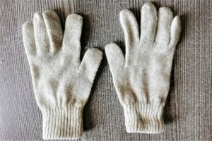 / Gloves natural white-light grey mixture fibre