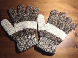 Gants en tricot gris brun-blanc cassé