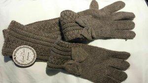 / Gants en tricot gris brun-gris vert acrylique