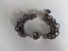 Witziges Textil-Gliederarmband grau mit Swarovskikristall