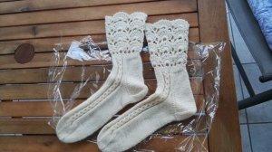 Woll Socken mit Spitze Handarbeit Gr. 38