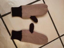 Gevoerde handschoenen stoffig roze-grijs-lila