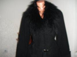 Classics meets Trends Wełniany płaszcz czarny Wełna