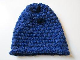 Wollmütze handgestrickt Wintermütze 100% Merinowolle blau neu