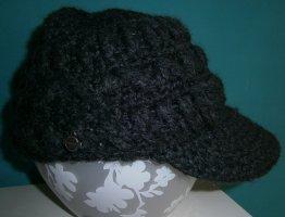 Wollmütze mit Schirm * Wollmischung* mit Zopfmuster * Farbe Dunkelgrau