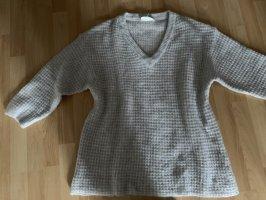 American Vintage Sweter z dekoltem w kształcie litery V jasnoszary
