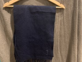 Yves Saint Laurent Wollen sjaal donkerblauw-zwart Wol