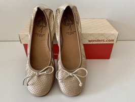 wonders Foldable Ballet Flats gold-colored