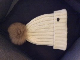 Woolrich Sombrero de piel crema-marrón claro