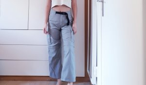 Vintage Pantalón de pinza alto gris claro-gris