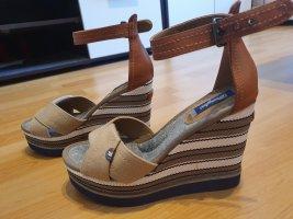 wrangler sandalen keilabsatz wedges gr. 38 neu braun beige weiß
