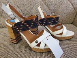 Wrangler sandalen neu gr. 39 Sandaletten blockabsatz blau weiß Schuhe Plateau