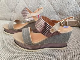 Wrangler wedges gr. 38 neu grau beige bronze Keilabsatz Sandalen Sandaletten keilsandaletten