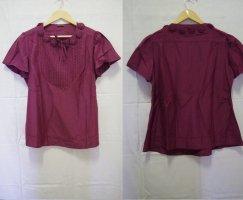 Wrap Short Sleeved Blouse purple silk
