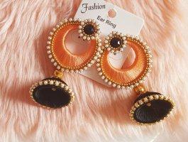 Pendientes de perlas negro-albaricoque