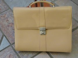 Briefcase silver-colored-cream leather