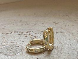 Wunderschöne creolen mit Muster Silber 925 vergoldet