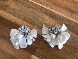 Wunderschöne H&M Ohrringe Ohrstecker Strass weiß Silber Blüte