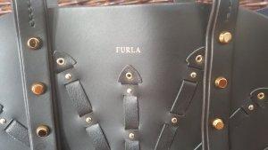Wunderschöne Handtasche aus schwarzem Leder mit goldenem Sternchenmuster der Marke Furla