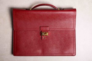 Briefcase dark red leather