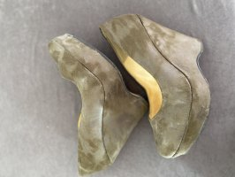 Chillany Wedge Pumps dark green-green grey leather