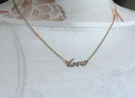wunderschöne Kette Halskette Love Modeschmuck Strasssteinchen