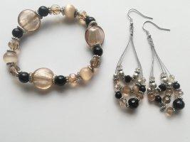 Wunderschöne Ohrringe und Armband in schwarz, silber, beige