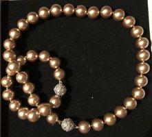 Collana di perle bronzo-oro