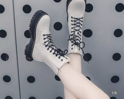 100% Fashion Platform Boots white