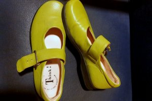 Think! Mary Jane Ballerinas green leather