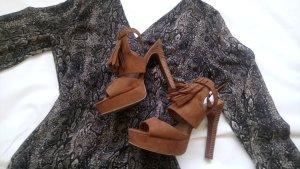 H&M Sandalen met bandjes en hoge hakken veelkleurig Gemengd weefsel