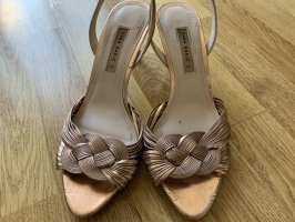 Zara Strapped High-Heeled Sandals bronze-colored