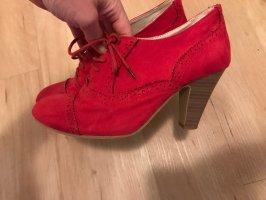 Akira Lace-up Booties brick red