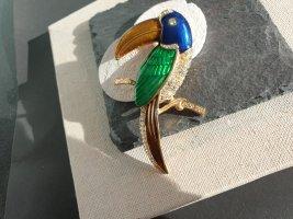 Wunderschöne Tropische Kakadu Brosche Grün Blau Vogel