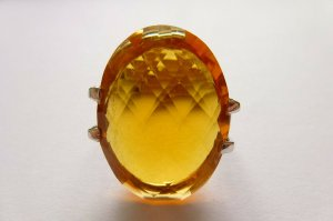 Real Vintage Srebrny pierścionek jasnoszary-ciemny żółty