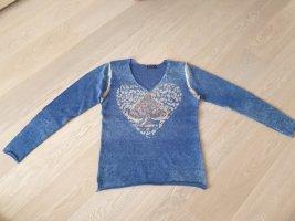 Zuckerwatte Pullover in cashmere blu Cachemire