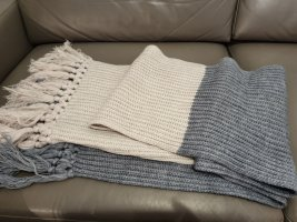 Esprit Écharpe à franges beige clair-gris ardoise tissu mixte