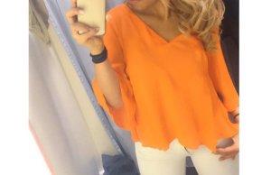 Gina Tricot V-Neck Shirt neon orange