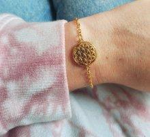 Wunderschönes goldfarbenes Glieder Armband mit Lotusblume
