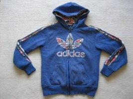 wunderschoenes hoodie adidas gr. s 36 blau blumen