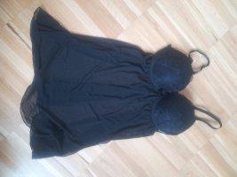 wunderschönes Negligee BH Kleidchen Sexy schwarz 75B Super Push Up