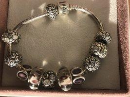 Pandora Bracelet à breloques argenté tissu mixte