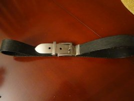 Leather Belt black-silver-colored leather