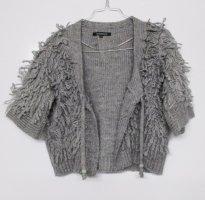 Wuschel Strick Cardigan Cape Kurz Jacke Wissmach Größe M 40 Grau Pulli Pullover Wolle Mohair Fransen
