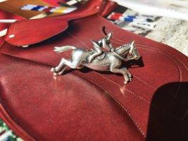 Silberschmiede 'Reiter auf Pferd' - Brosche, 60er/UNIKAT