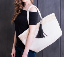 XXL Korbtasche Shopper Baumwolle Stroh NEU **noch mehr Taschen im Angebot**