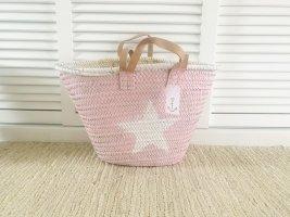 XXL Korbtasche Strandtasche Shopper STERN rosa weiß, NEU!!